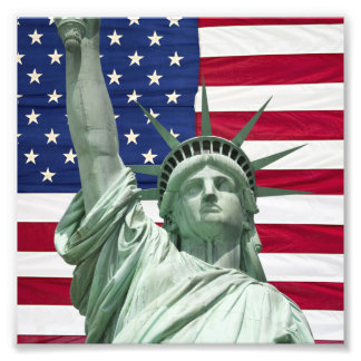 Statue of Liberty and American Flag Photo Art