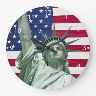 Statue of Liberty and American Flag Wall Clock