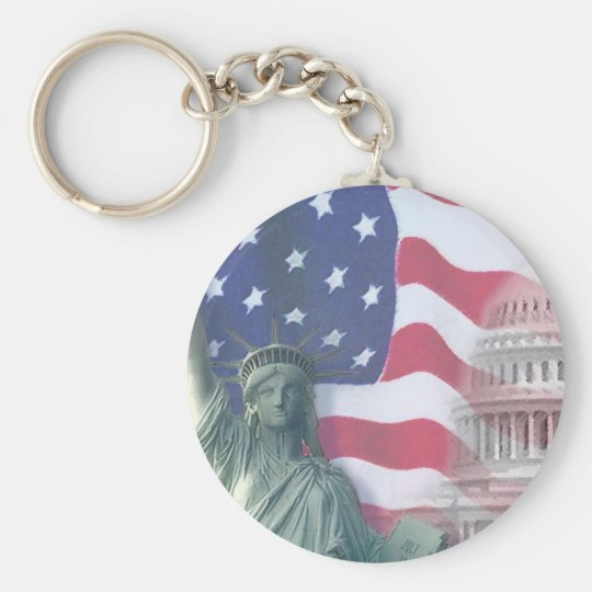 statue of liberty and flag basic round button key ring
