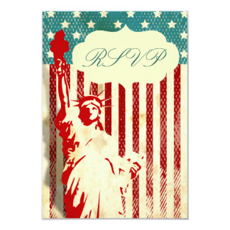 Statue of Liberty and Flag Wedding RSVP Cards 9 Cm X 13 Cm Invitation Card