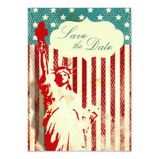 Statue of Liberty and Flag Wedding Save the Date 11 Cm X 16 Cm Invitation Card