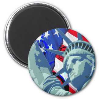 Statue of Liberty and Patriotic American Flag 6 Cm Round Magnet