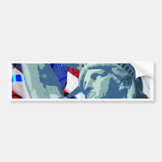 Statue of Liberty and Patriotic American Flag Bumper Sticker