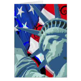 Statue of Liberty and Patriotic American Flag Card