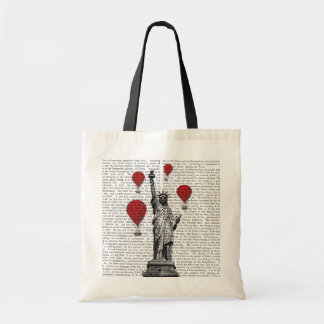 Statue Of Liberty and Red Hot Air Balloons Tote Bag