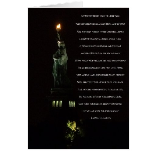 Statue of Liberty At Night/Emma Lazarus Poem Greeting Cards