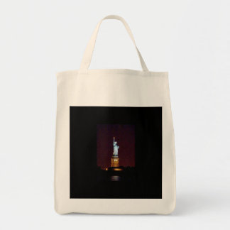 Statue of Liberty at Night - Organic Grocery Tote Canvas Bag
