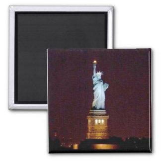 Statue of Liberty at Night - Square Magnet