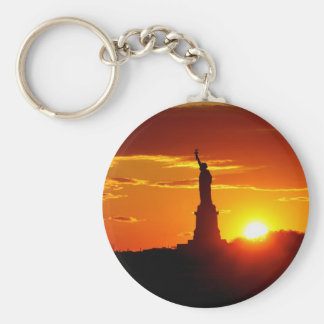 Statue of Liberty at Sunset Basic Round Button Key Ring