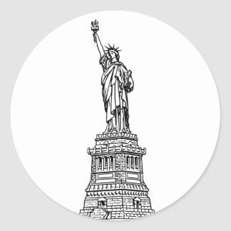 Statue of Liberty, black Classic Round Sticker