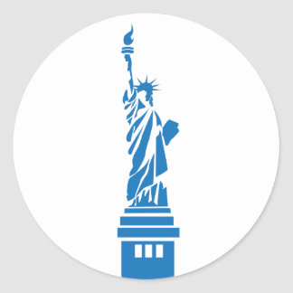Statue of Liberty, blue Classic Round Sticker