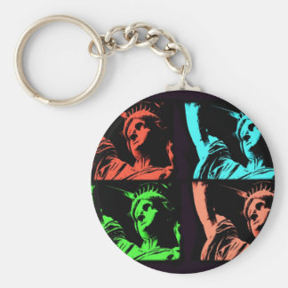 Statue of Liberty Collage Basic Round Button Key Ring