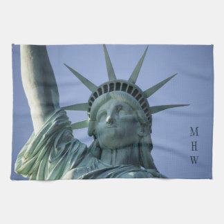 Statue of Liberty custom monogram kitchen towel