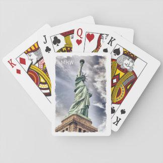 Statue of Liberty custom monogram playing cards