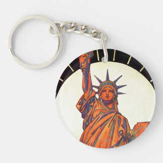 Statue of Liberty Double-Sided Round Acrylic Key Ring