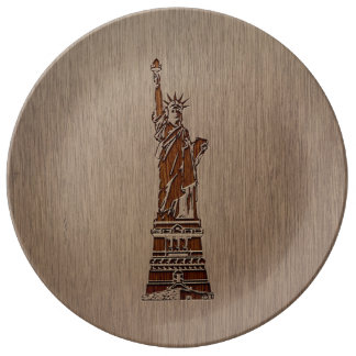 Statue of Liberty engraved on wood design Porcelain Plates