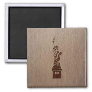Statue of Liberty engraved on wood design Square Magnet