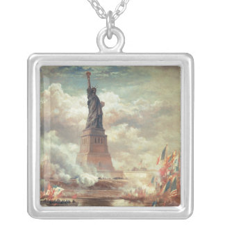 Statue Of Liberty Enlightening the World Square Pendant Necklace