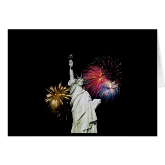 Statue of Liberty - Fireworks Background Card