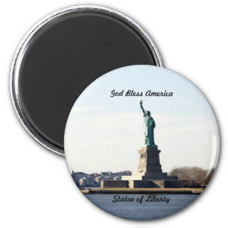 Statue of Liberty, God Bless America 6 Cm Round Magnet