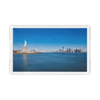 Statue of Liberty, Hudson River and Manhattan Acrylic Tray