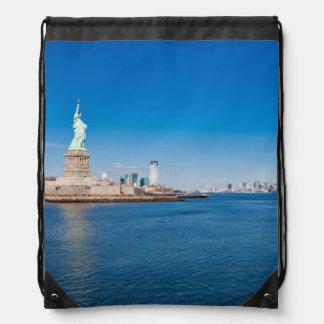 Statue of Liberty, Hudson River and Manhattan Drawstring Bag