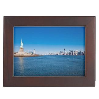 Statue of Liberty, Hudson River and Manhattan Keepsake Box