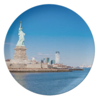 Statue of Liberty, Hudson River and Manhattan Plate