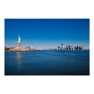 Statue of Liberty, Hudson River and Manhattan Poster