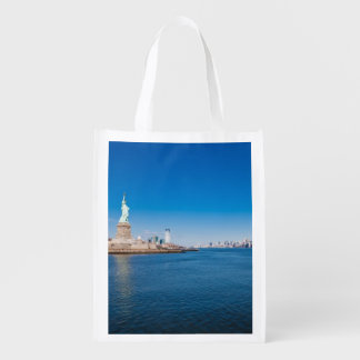 Statue of Liberty, Hudson River and Manhattan Reusable Grocery Bag