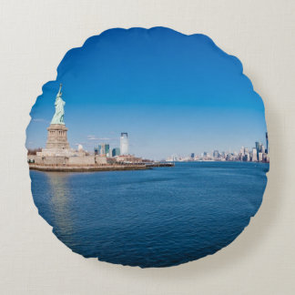 Statue of Liberty, Hudson River and Manhattan Round Cushion