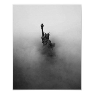 Statue of liberty in fog poster