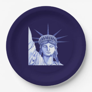 Statue Of Liberty July Fourth Holiday paper plate 9 Inch Paper Plate