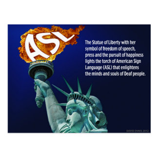Statue of Liberty Lights Her Torch for ASL Postcard