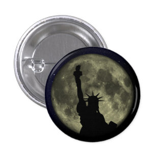 Statue of liberty - moon pinback button