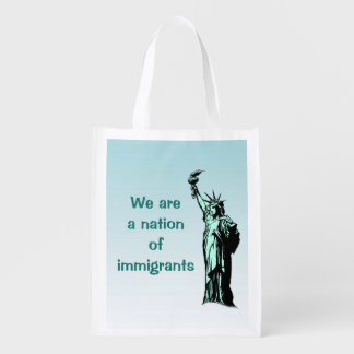 Statue of Liberty Nation of Immigrants Reusable Grocery Bag
