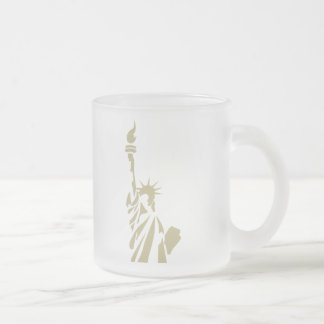 Statue of Liberty - New Colossus Patriotic Poem Frosted Glass Coffee Mug