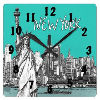 Statue of Liberty New York America Teal Clocks