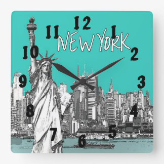 Statue of Liberty New York America Teal Square Wall Clock