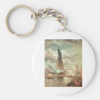 Statue of Liberty, New York circa 1800's Basic Round Button Key Ring