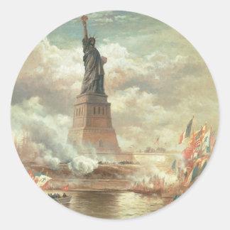 Statue of Liberty, New York circa 1800's Classic Round Sticker