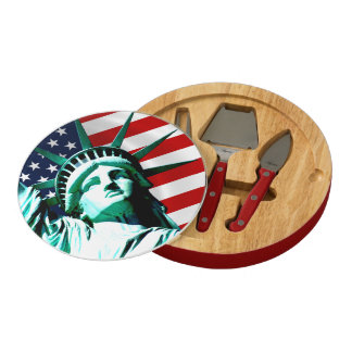 Statue of Liberty, New York Round Cheese Board