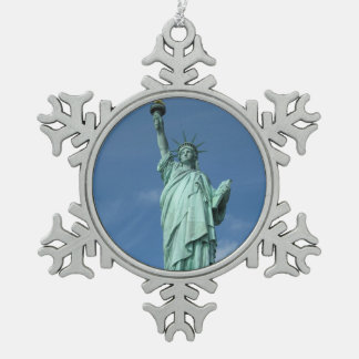 Statue of Liberty, New York Snowflake Pewter Christmas Ornament