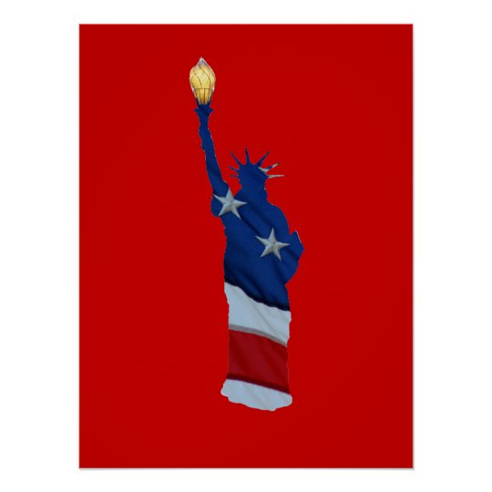 Statue of liberty on any colour poster