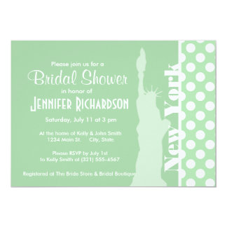 Statue of Liberty on Celadon Green Polka Dots Personalized Invitations