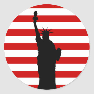 Statue of Liberty on Red Stripes Classic Round Sticker