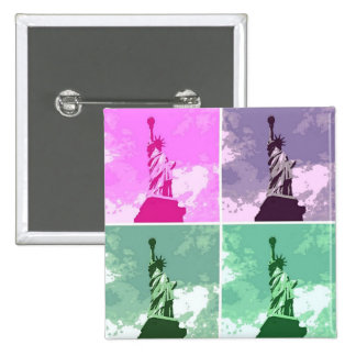 Statue of Liberty Pop Art USA Symbol 15 Cm Square Badge