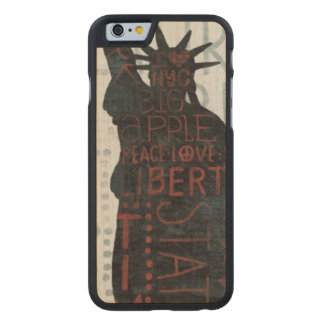 Statue of Liberty Silhouette Carved Maple iPhone 6 Case