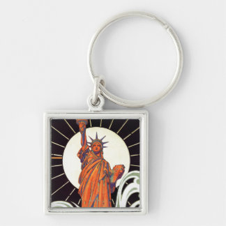 Statue of Liberty Silver-Colored Square Key Ring
