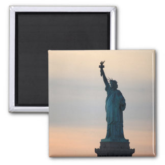 Statue of Liberty Sunset Square Magnet